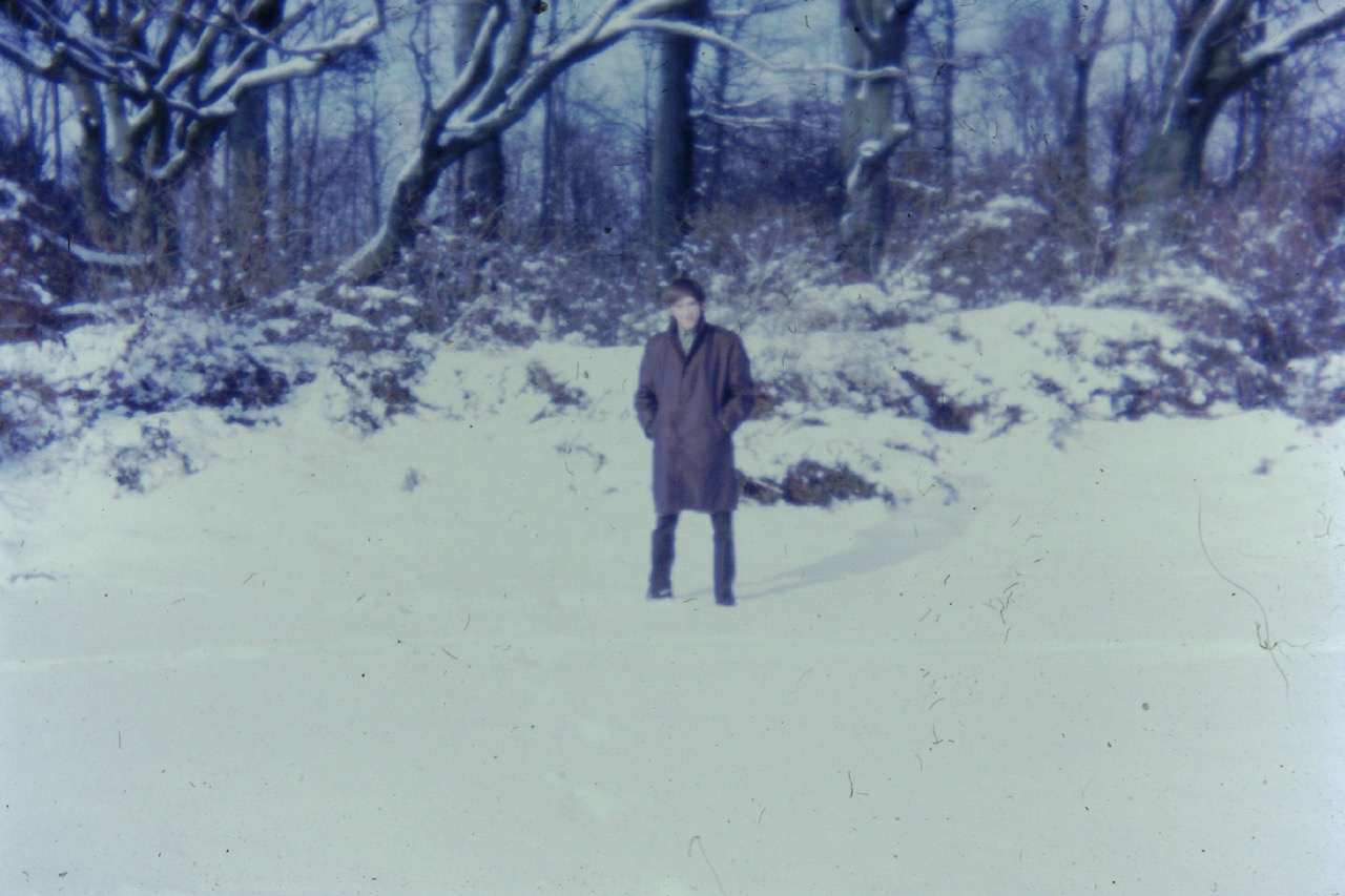 Phil in a snowy Stanmer Park in the 1960s